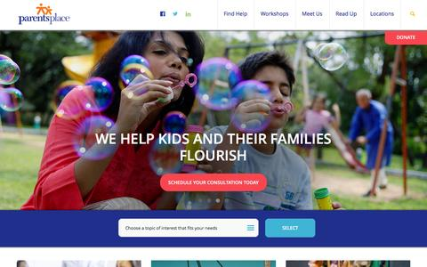 Screenshot of Home Page parentsplaceonline.org - Parents Place - captured Jan. 25, 2016