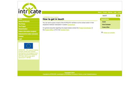 Screenshot of Contact Page intricate.eu - Contact - Intricate - captured Oct. 4, 2014