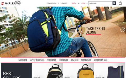 Screenshot of Home Page harissonsbags.com - Harissons: Bags to Carry Your Attitude | Backpacks, Travel Bags, Laptop Bags Online in India - captured Dec. 7, 2015