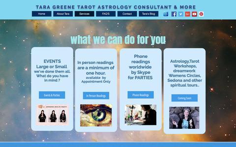 Screenshot of Services Page taratarot.com - Tara Greene Services: Tarot Reader, Psychic, Astrology, Psychic - captured July 12, 2017