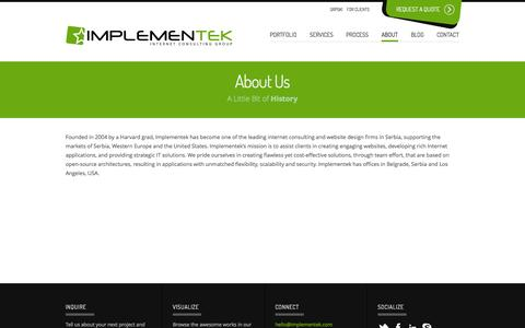 Screenshot of About Page Team Page implementek.com - About Us | Implementek - captured Oct. 23, 2014
