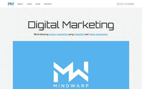 Screenshot of Home Page mindwarpllc.com - MindWarp LLC: El Paso Web Design and Video Production - captured Sept. 20, 2018