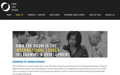 Screenshot of About Page owntheroom.com - Own The Room® | Unleashing Human Potential | Communication Training  | What We Do - captured Sept. 20, 2018