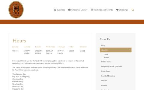Screenshot of Hours Page jjhill.org - Hours - captured Oct. 6, 2014