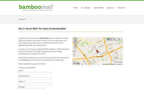 Screenshot of Contact Page bamboo-mail.com - Contact Us «  Bamboo-mail - captured Sept. 30, 2014