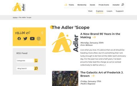 Screenshot of Blog adlerplanetarium.org - The Adler 'Scope | Adler Planetarium - captured Jan. 21, 2020