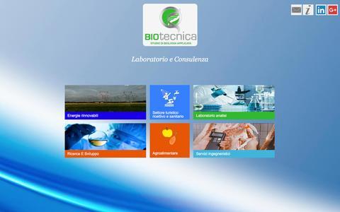 Screenshot of Home Page biotecnicaassociati.com - BIOtecnica   Legionella   Biogas   Biometanizzazione   Alimenti complementari   Pet food - captured Feb. 7, 2016