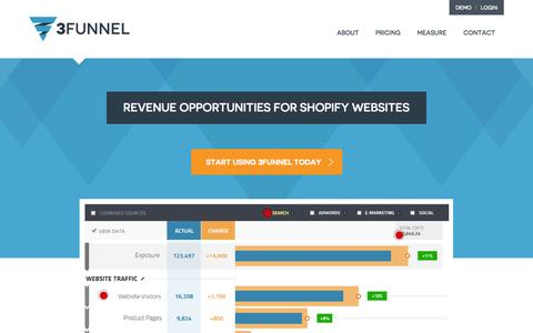 Screenshot of Home Page 3funnel.com - Marketing & Sales Funnel Software, Analysis and Conversions   3funnel - captured Jan. 14, 2015