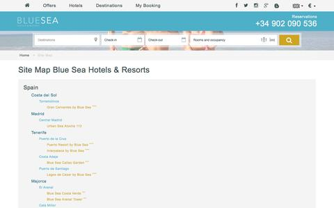 Screenshot of Site Map Page blueseahotels.com - Site Map | Blue Sea Hotels & Resorts - captured May 25, 2016