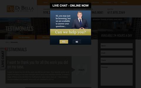 Screenshot of Testimonials Page dibellalawoffice.com - Testimonials - DiBella Law Offices, P.C. - captured Oct. 12, 2017