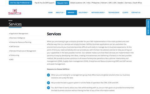 Screenshot of Services Page sapxtra.com - SapXtra - captured Sept. 29, 2017