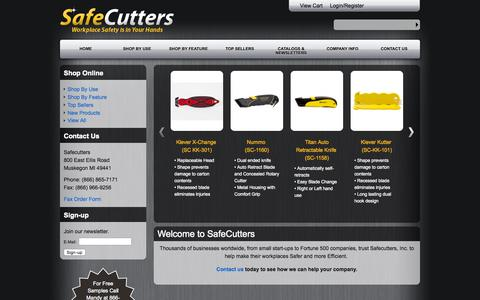 Screenshot of Home Page safecutters.com - Safecutters - Home - captured Sept. 15, 2015