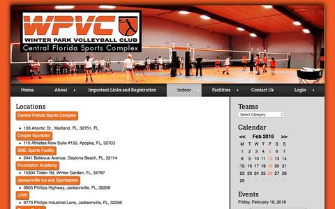 Screenshot of Locations Page wpvc.org - Locations | Winter Park VolleyBall Club - captured Feb. 15, 2016