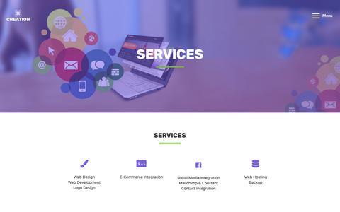 Screenshot of Services Page creationwebsitedesign.com - Services - Creation Web Design - captured Oct. 22, 2018