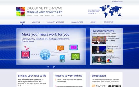 Screenshot of Home Page executiveinterviews.biz - Executive Interviews – Bringing your news to life - captured Sept. 23, 2014