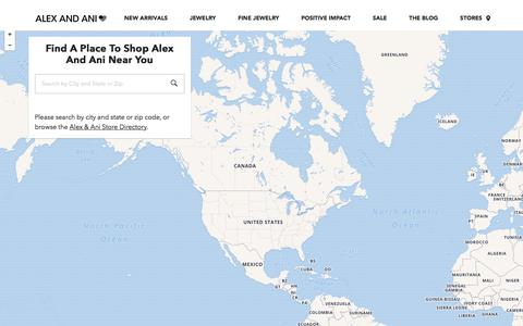 Screenshot of Locations Page alexandani.com - Find an ALEX AND ANI near you | Bangle Bracelets, Necklaces, Earrings, Rings, Accessories - captured Jan. 24, 2018