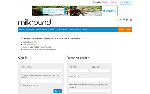 Screenshot of Signup Page milkround.com - Register | Milkround - captured Nov. 4, 2014