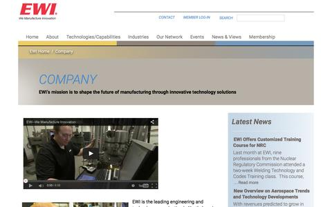 Screenshot of About Page ewi.org - Company | Materials Joining, Forming, Testing, Modeling, and Engineering Consulting Services – EWI - captured July 10, 2016