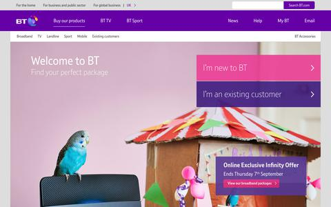 Screenshot of Products Page bt.com - BT Products and Services - captured Sept. 5, 2017
