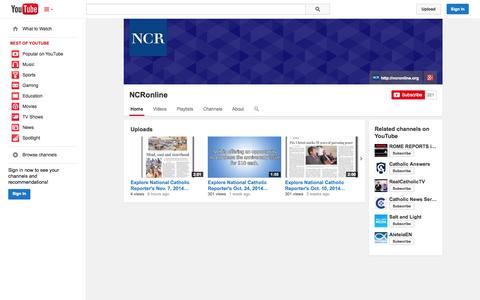 Screenshot of YouTube Page youtube.com - NCRonline  - YouTube - captured Nov. 4, 2014