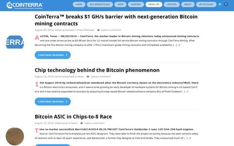 Screenshot of Press Page cointerra.com - The Evolution of Bitcoins and ASIC s - Find out more about CoinTerra - captured Sept. 13, 2014