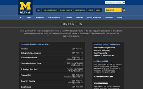 Screenshot of Contact Page umich.edu - Contact › University of Michigan - captured Sept. 17, 2014