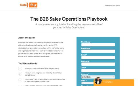 Screenshot of Landing Page datahug.com - B2B Sales Operations Playbook | Datahug - captured Nov. 12, 2019