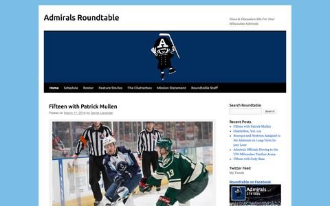 Screenshot of Home Page admiralsroundtable.com - Admirals Roundtable | News & Discussion Site For Your Milwaukee Admirals - captured March 17, 2016