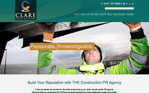 Screenshot of Home Page clarepr.com - Construction PR Agency - Clare PR - captured Nov. 7, 2016