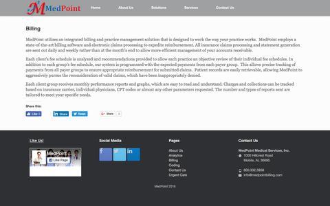 Screenshot of Services Page medpointbilling.com - MedPoint Billing - captured Nov. 28, 2016
