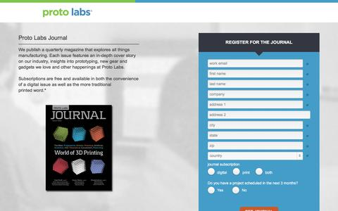 Screenshot of Landing Page protolabs.com - Sign up for our Journal - captured Aug. 23, 2016