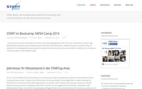 Screenshot of Home Page start-berlin.com - START Berlin - Studenteninitiative für Gründung & Unternehmertum - captured Oct. 3, 2014