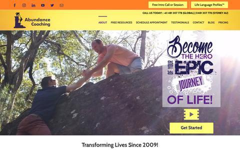 Screenshot of Home Page abundancecoaching.com - Find Sydney Life Coaching Services | Abundance Coaching - captured June 10, 2019