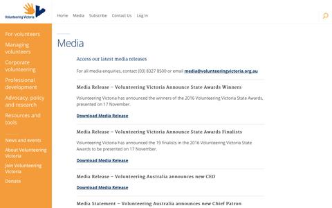 Screenshot of Press Page volunteeringvictoria.org.au - Media - Volunteering Victoria - captured Dec. 11, 2016