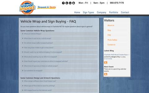 Screenshot of FAQ Page vivisual.com - Sign Company and Signage Frequently Asked Questions Charlotte NC - captured Feb. 25, 2016