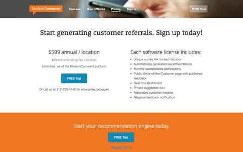 Screenshot of Pricing Page moderncomment.com - Pricing | ModernComment - captured Sept. 19, 2014
