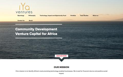 Screenshot of Home Page iyaventures.com - iYa Ventures | African Venture Capital Fund - captured Aug. 6, 2016