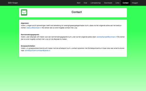 Screenshot of Contact Page svkraan.nl - SSV Kraan [Contact] - captured July 26, 2018