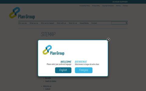 Screenshot of Site Map Page plan-group.com - Sitemap | Plan Group - captured Dec. 9, 2015