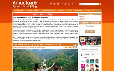 Screenshot of Blog amautaspanish.com - AMAUTA Spanish School Blog | Learn Spanish in Peru and Argentina - captured Sept. 22, 2018