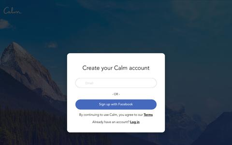 Screenshot of Trial Page calm.com - Calm - Subscribe to Calm - captured Nov. 2, 2018