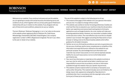 Screenshot of Terms Page robinsonpackaging.com - Terms of Use • Robinson Packaging - captured Sept. 27, 2016