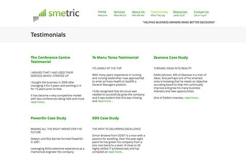 Screenshot of Testimonials Page smetric.co.nz - SMEtric has testimonials from clients in a wide range of businesses - captured Oct. 3, 2014