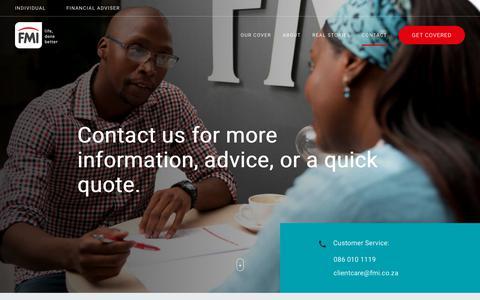 Screenshot of Contact Page fmi.co.za - FMI - Contact Us - captured Nov. 6, 2018