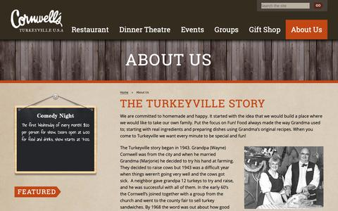 Screenshot of About Page turkeyville.com - About Us Cornwell's Turkeyville - captured Sept. 29, 2018