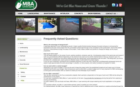 Screenshot of FAQ Page mbalandscaping.ca - Frequently Asked Questions | MBA Landscaping - captured Oct. 3, 2014