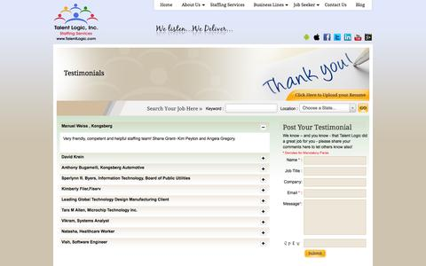Screenshot of Testimonials Page talentlogic.com - Testimonials - captured Oct. 27, 2014