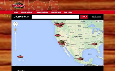 Screenshot of Locations Page shakeys.com - Locations | Shakey's Pizza Parlor - captured Oct. 7, 2014