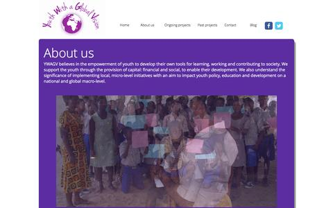Screenshot of About Page youthwithaglobalvision.org - Youth with a Global Vision - captured Jan. 10, 2016