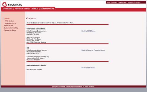 Screenshot of Contact Page nashua.com - Nashua Contacts - captured Oct. 27, 2014